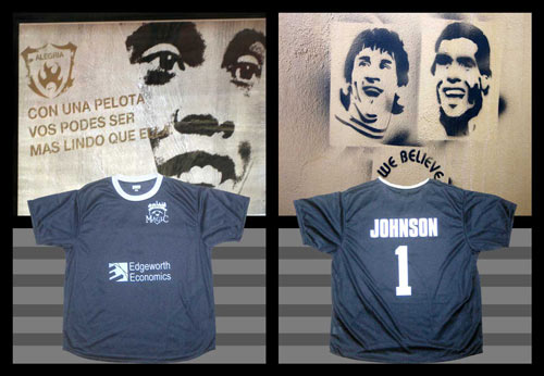 Front and back of Blue Magic screen printed soccer jerseys.