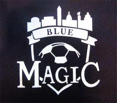 Screen printed Blue Magic logo.