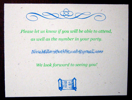 Screen printed RSVP card.
