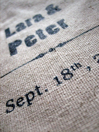 Screen printed wedding invitation zoom.