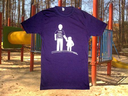 temple israel screen printed ringspun purple t-shirt