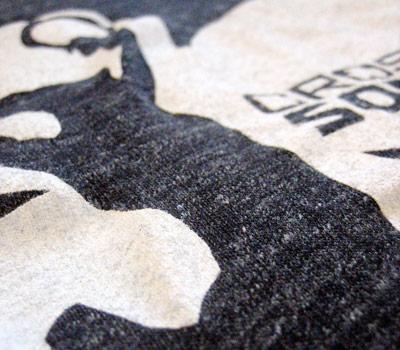 Screen printed zip hoody.