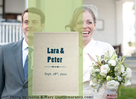 Screen printed wedding invitation.