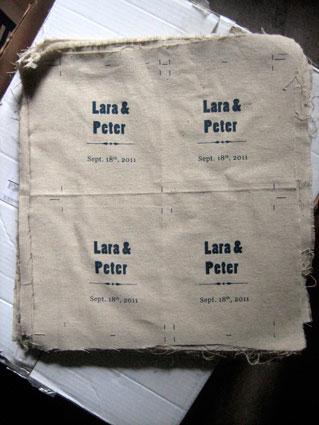 Screen printed wedding invitations before cutting.