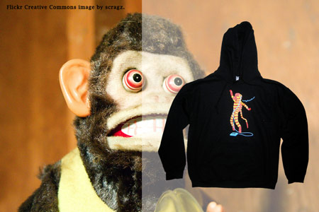Screen printed hoody for Monkeyshine Studios.