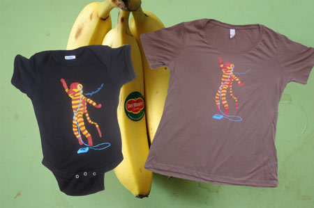 Screen printed onesie and t-shirts.