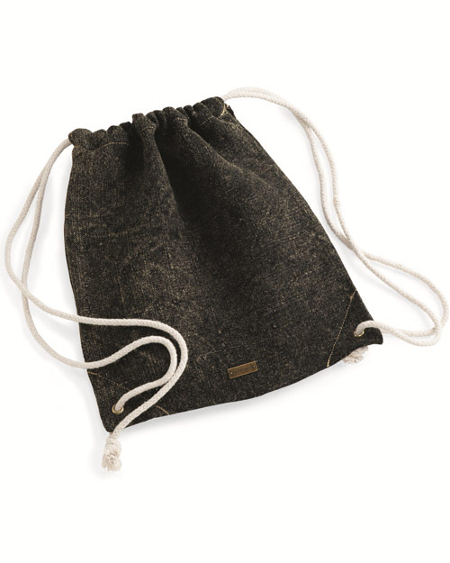 Jute cinch sack pulls tight, hands free. Contrast stitching along top and bottom corners.