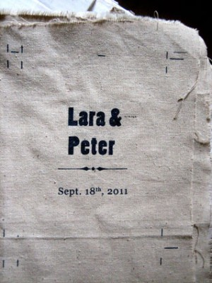 A close-up of the invite before being cut into its final form.