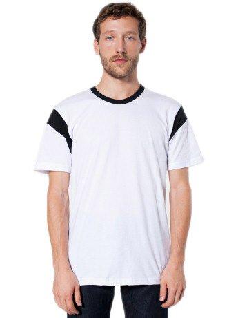fc47c21e American Apparel Fine Jersey Contrast Inset Short Sleeve TShirt Male Black