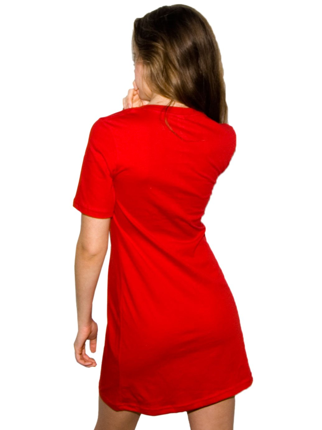5021e0f0453b2 ... American Apparel Fine Jersey Short Sleeve Crew Neck T-Shirt Dress  Female Red