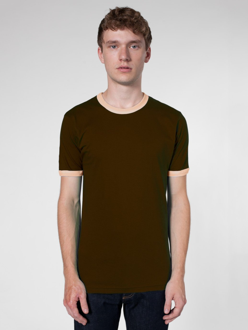 American apparel fine jersey short sleeve ringer tee for American apparel fine jersey crewneck t shirt
