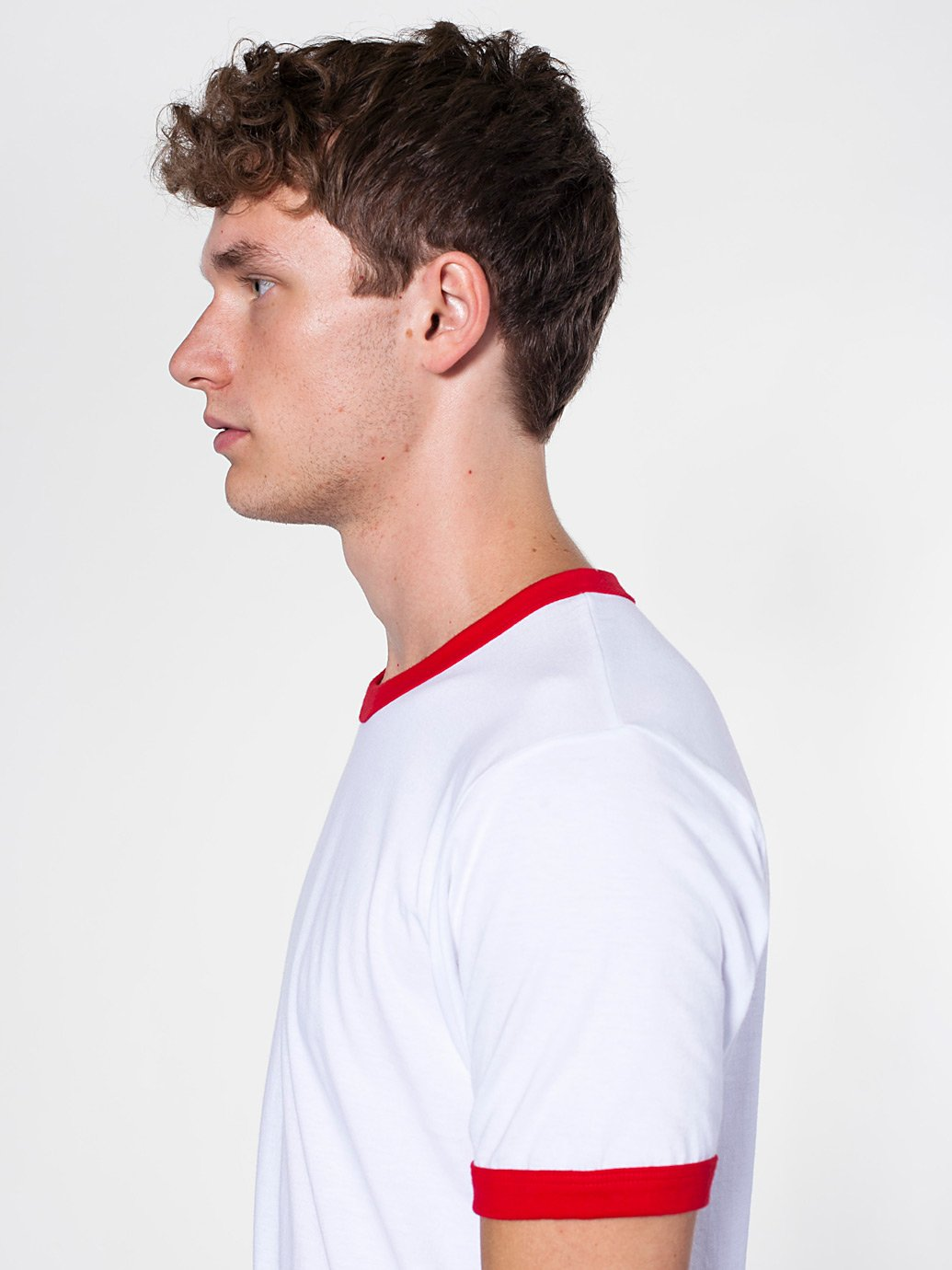 c112f5d3bcef ... American Apparel Fine Jersey Short Sleeve Ringer Tee Male White Red