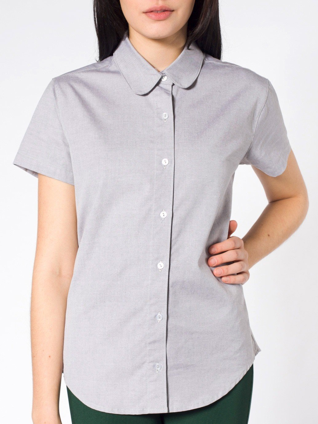 American apparel pinpoint oxford round collar short sleeve for T shirt printing oxford