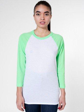American Apparel Poly Cotton 3 4 Sleeve Raglan Shirt