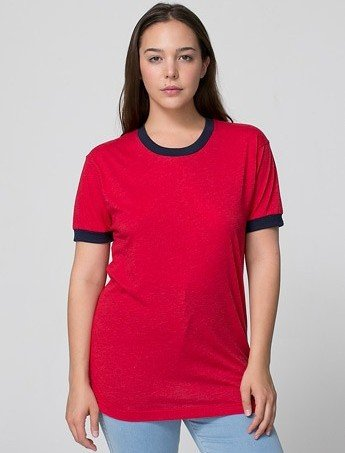 3d184a76 American Apparel Poly-Cotton Short Sleeve Ringer T -Shirt Female Red