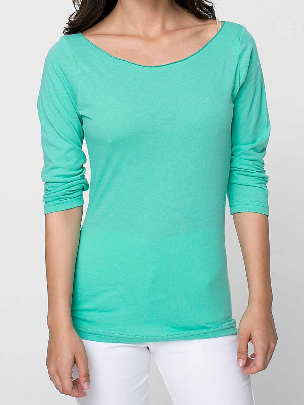 a3e1cccaae0 American Apparel Sheer Jersey 3 4 Sleeve Boat Neck - Evan Webster INK