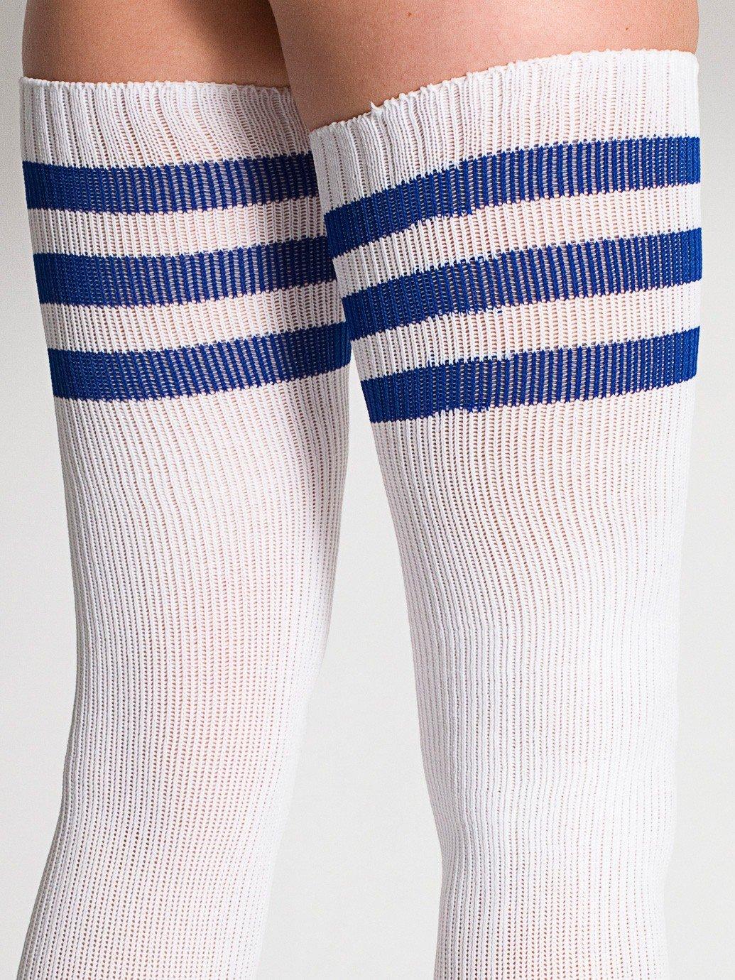 b3eed2ad2f ... American Apparel Stripe Thigh-High Socks Female Blue ...