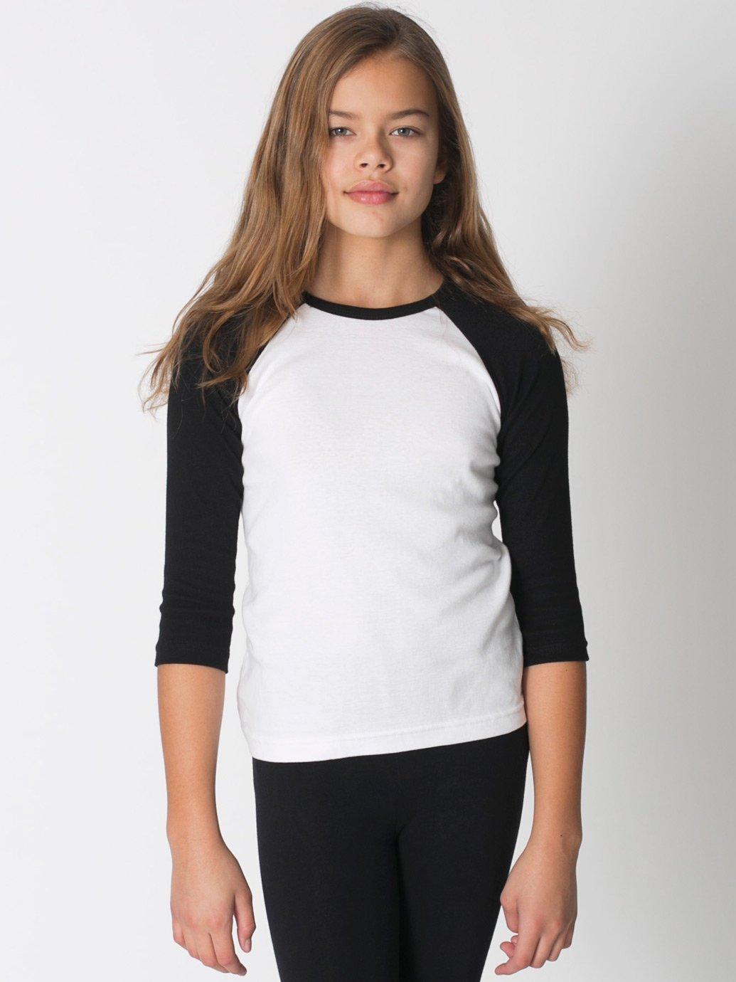 American apparel youth baby rib 3 4 sleeve raglan evan for 3 4 sleeve shirt template