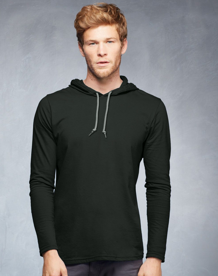 Anvil Ringspun Long-Sleeve Hooded T-Shirt 987AN - Evan Webster INK