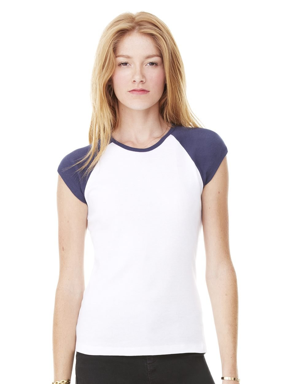 c047b323 Bella and Canvas Ladies' Baby Rib Cap Sleeve Raglan T-Shirt Female Blue