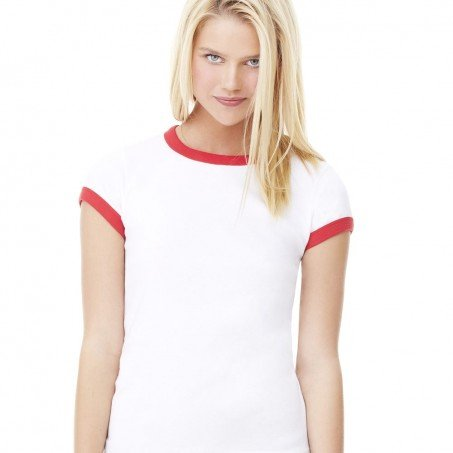 fcc5fc98 Bella and Canvas Ladies' Baby Rib Short Sleeve Ringer T-Shirt Female Red