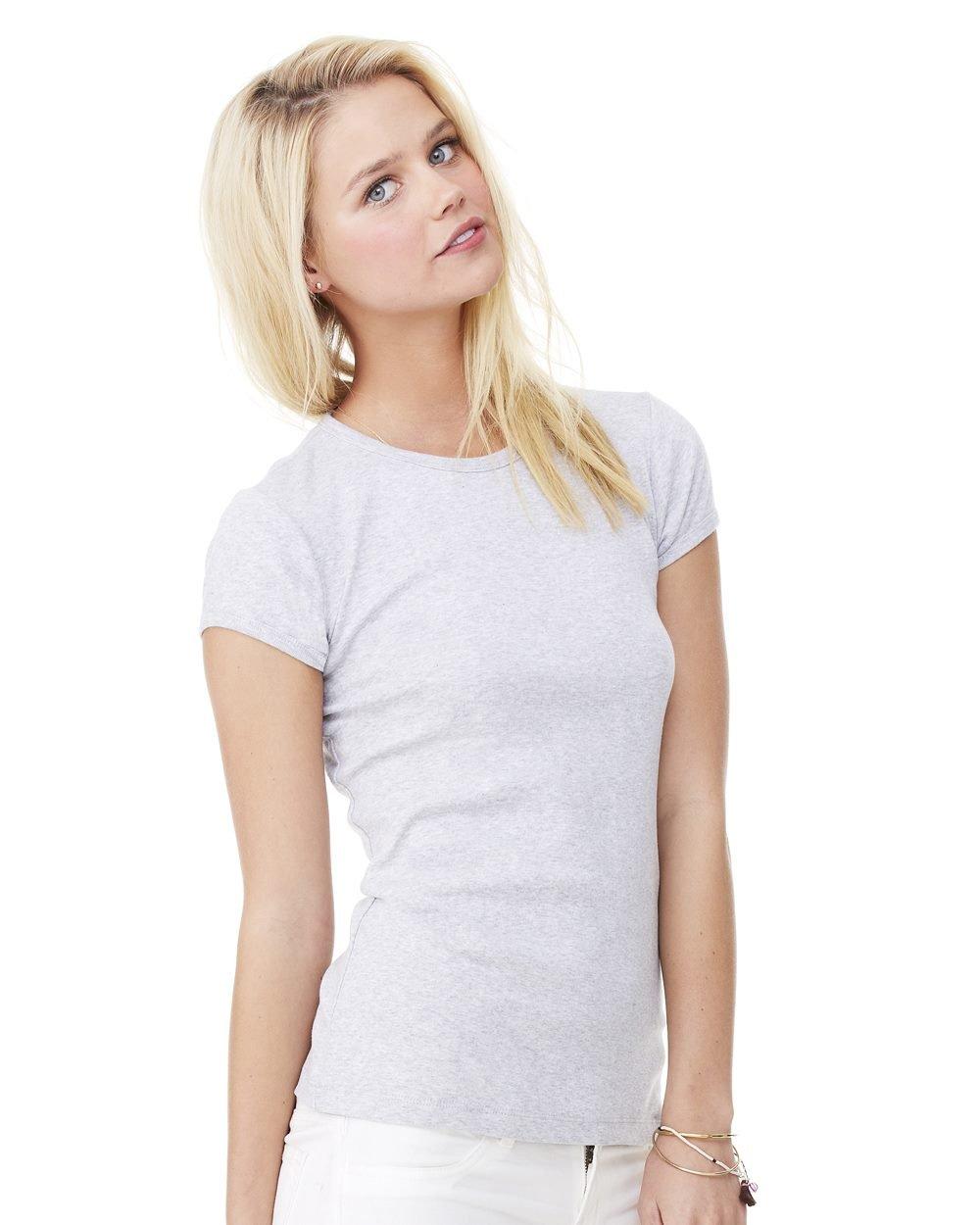 df9c175a Bella and Canvas Ladies' Baby Rib Short Sleeve T-Shirt Female Grey