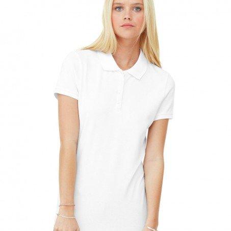 ba0cd504 Bella and Canvas Ladies' Mini Pique Short Sleeve Sport Shirt Female White