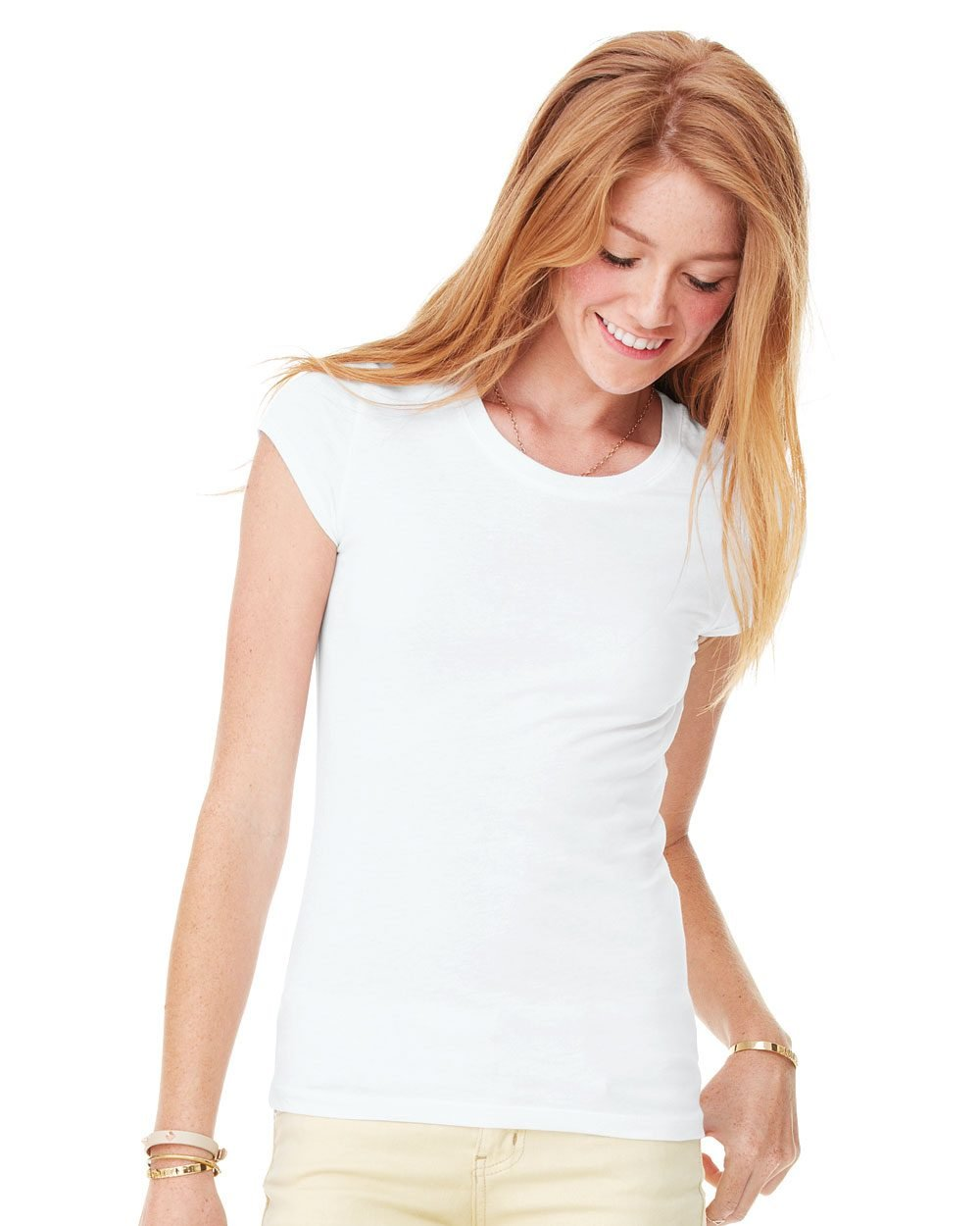 Bella and canvas ladies 39 sheer jersey t shirt evan for Model white t shirt