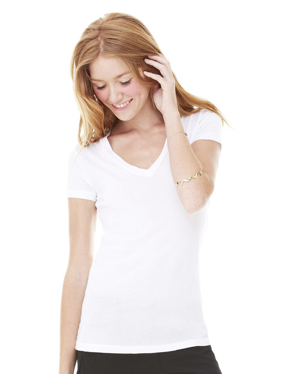 ... Bella and Canvas Ladies' Tissue Jersey Deep V-Neck T-Shirt - Evan