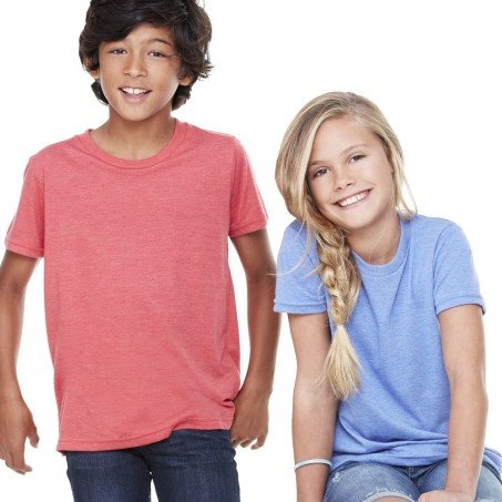 5f1a72d1 Bella and Canvas Youth Short Sleeve Crewneck Jersey T-Shirt Male Red Female  Blue