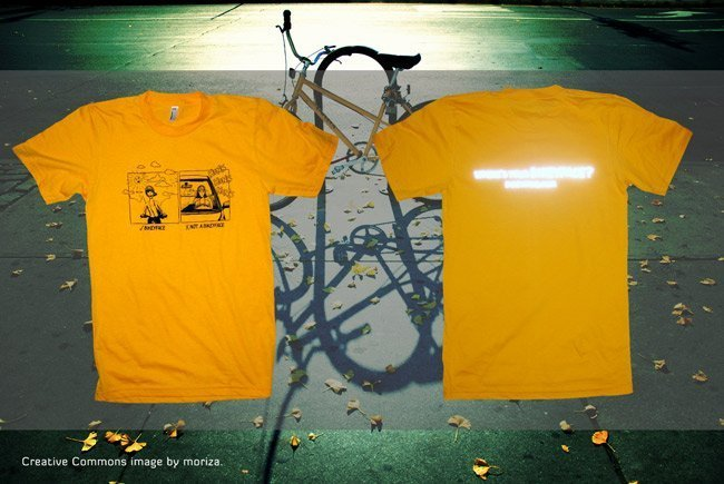 Bikeyface reflective ink screen printed waterbased ink American Apparel combed ringspun cotton fine jersey 2001 t-shirt