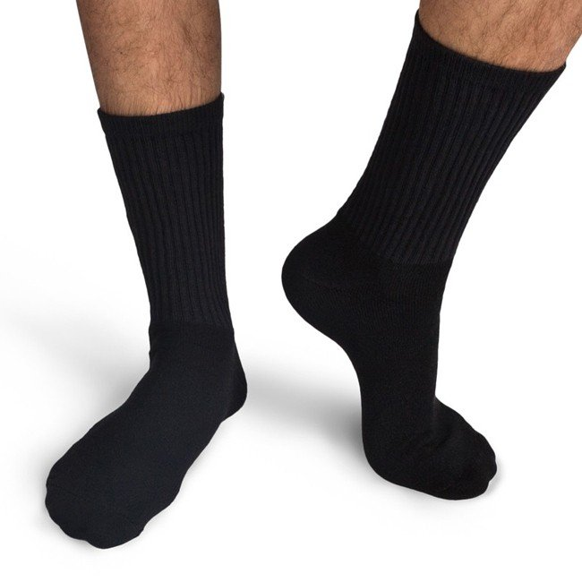 Choose from men's dress socks to athletic socks in designs and colors that suit your style. If you have to dress up in a men's suit for a nine-to-five job, dress socks are a must. Wearing white socks with dress pants is a major fashion faux pas.