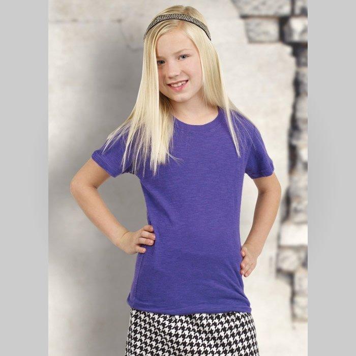 d7c679bc Pima Apparel Girl's Short Sleeve Slub Tee Female Purple