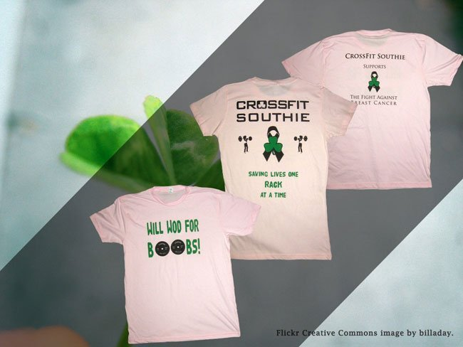crossfit southie breast cancer awareness ringspun cotton t-shirt