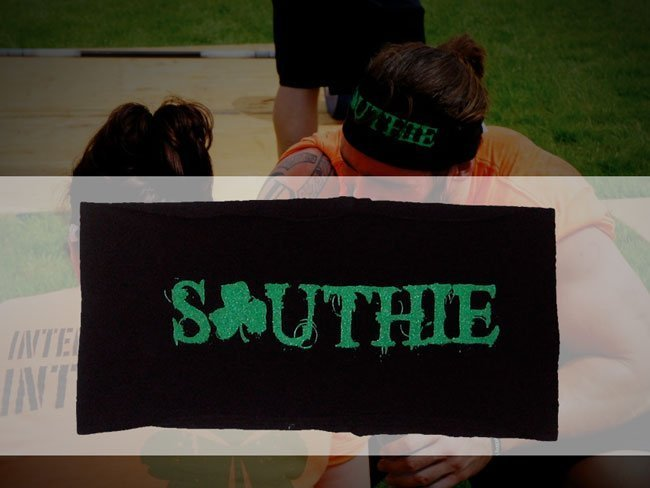 crossfit southie screen printed yoga headband