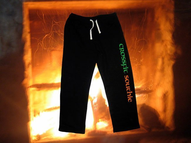 crossfit southie screen printed heavy duty athletic open bottom sweatpants