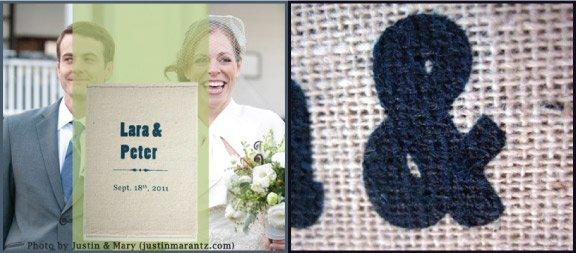 screen printed vintage wedding invitation on burlap