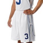 polyester moisture wicking Game Jersey by A4 in white with royal color combination