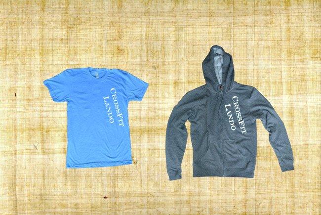 lando crossfit zip hoodie and t-shirt diagonal text