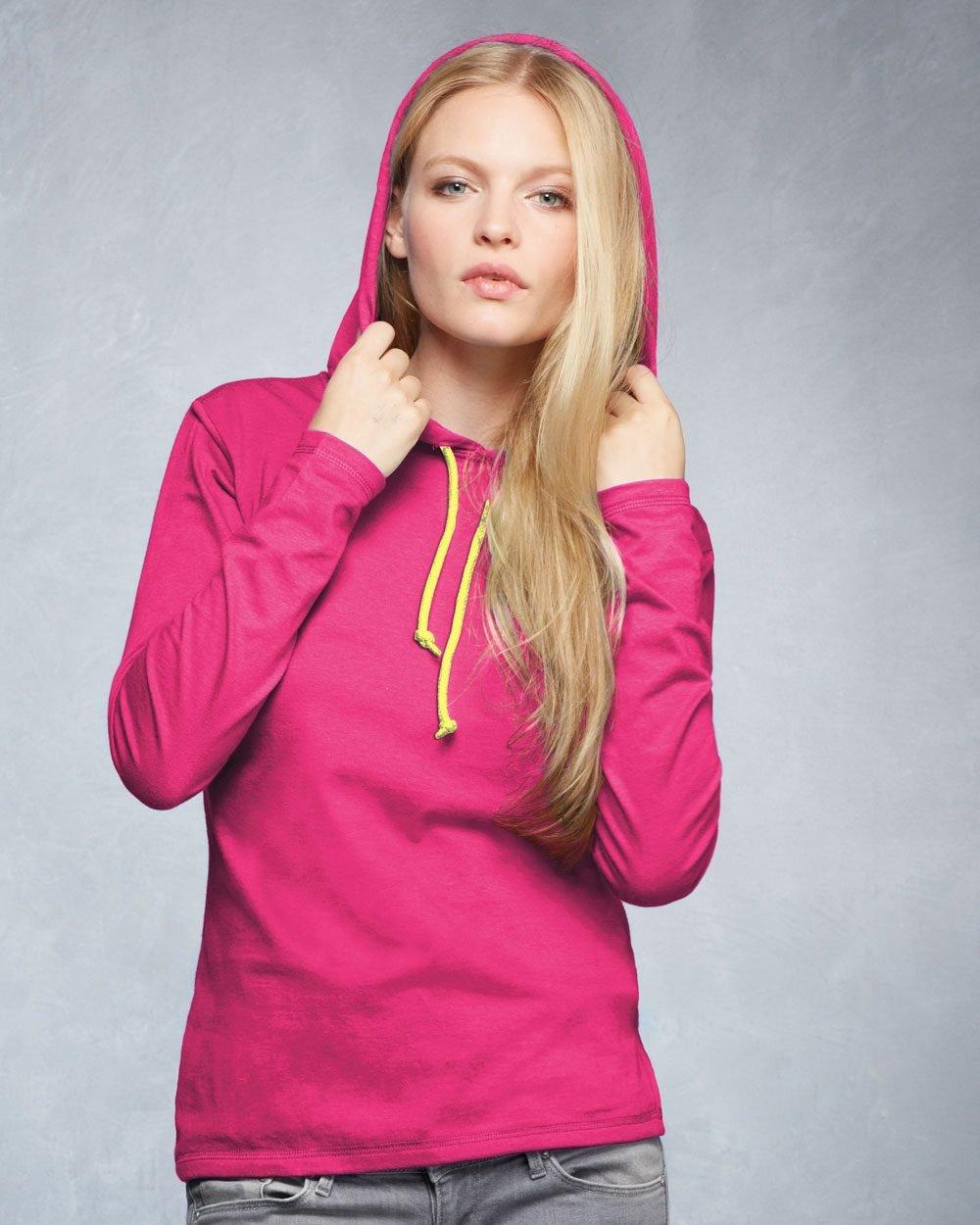 b62375d31992 Anvil Ladies' Ringspun Long-Sleeve Hooded T-Shirt 887L - Evan ...