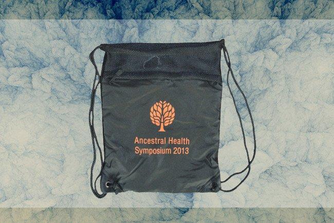 ancestral health symposium screen printed premium cynch sack