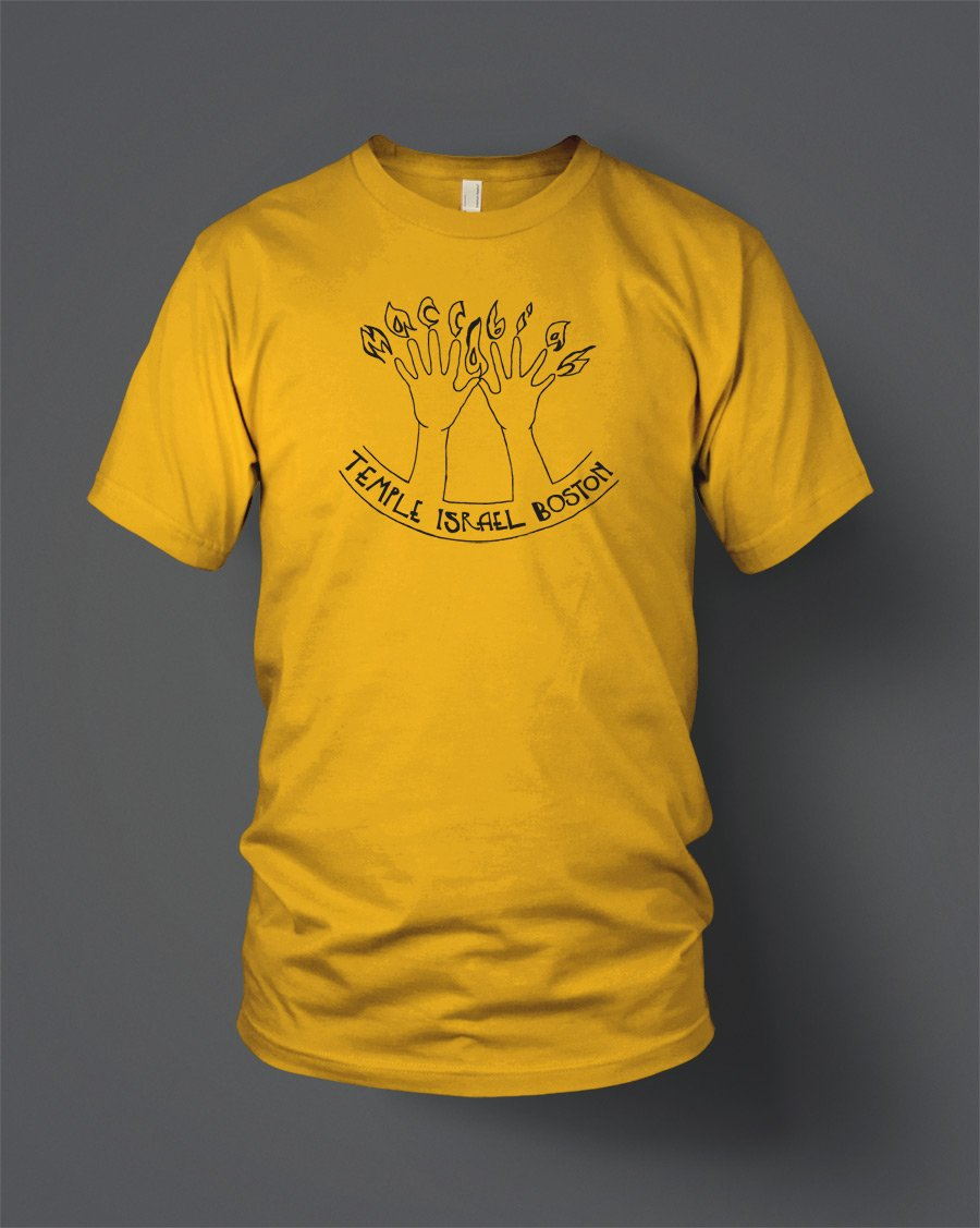 temple israel boston screen printed t-shirt gold