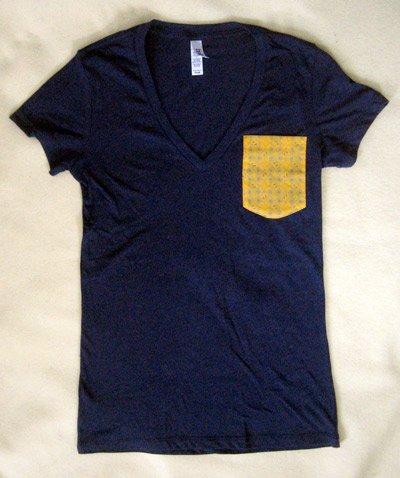 custom sewn custom designed pocket t-shirts