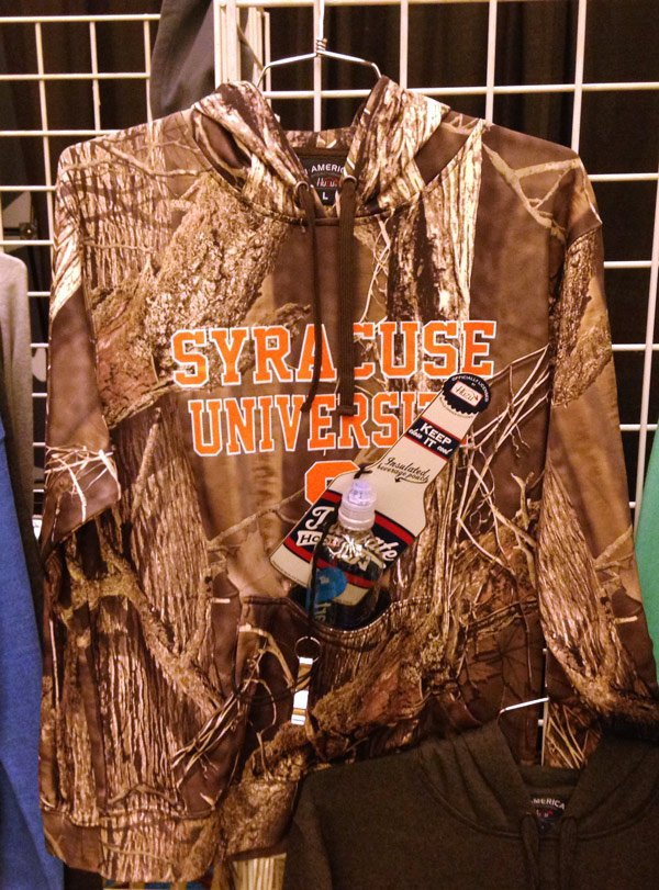 camo hoodie with bottle holder