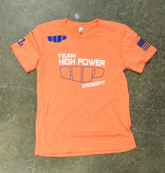 crossfit high power orange triblend tee