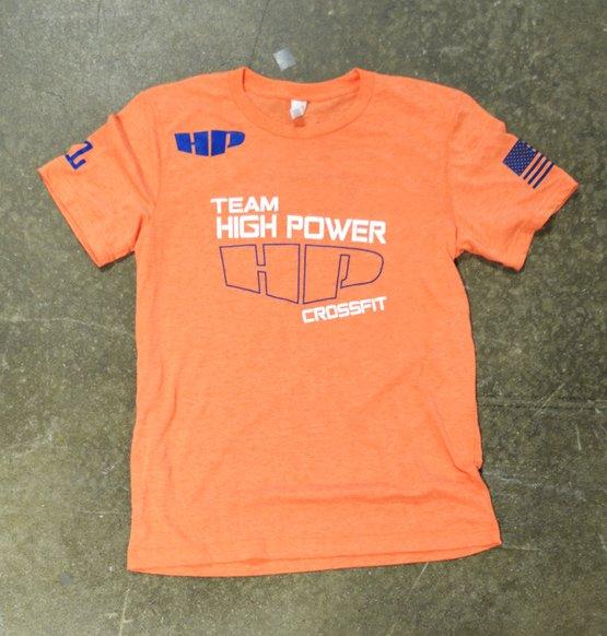 crossfit high power orange triblend tee