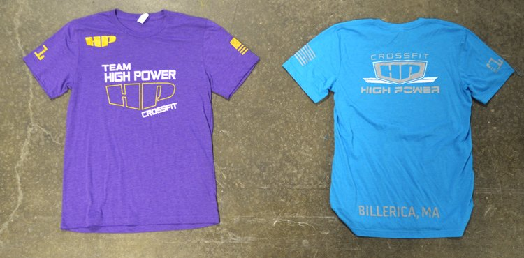 crossfit high power purple and blue triblend tee