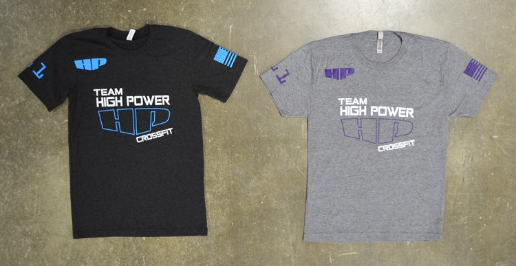 crossfit high power black and grey triblend tee