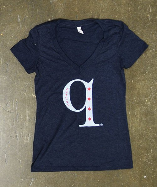 q bbq chicago screen printed triblend tee